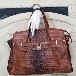 Kate Landry Croc Embossed Satchel Handbag NWOT